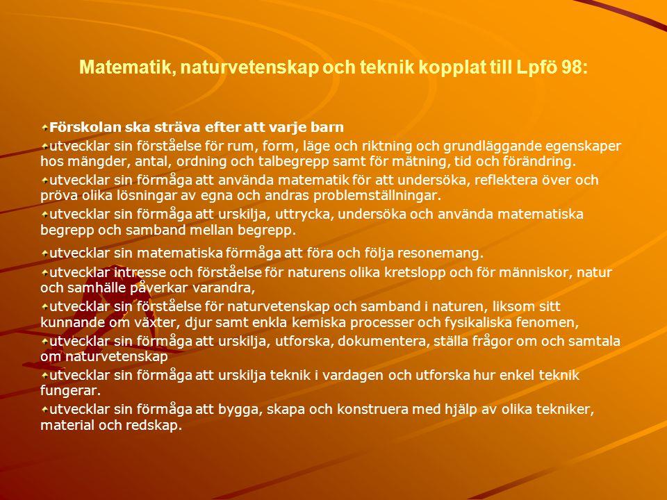 Matematik, naturvetenskap och teknik kopplat till Lpfö 98:
