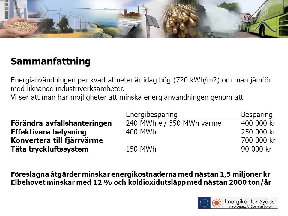 Sammanfattning Energianvändningen per kvadratmeter är idag hög (720 kWh/m2) om man jämför med liknande industriverksamheter.