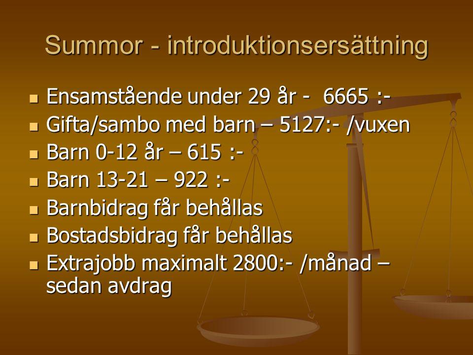 Summor - introduktionsersättning