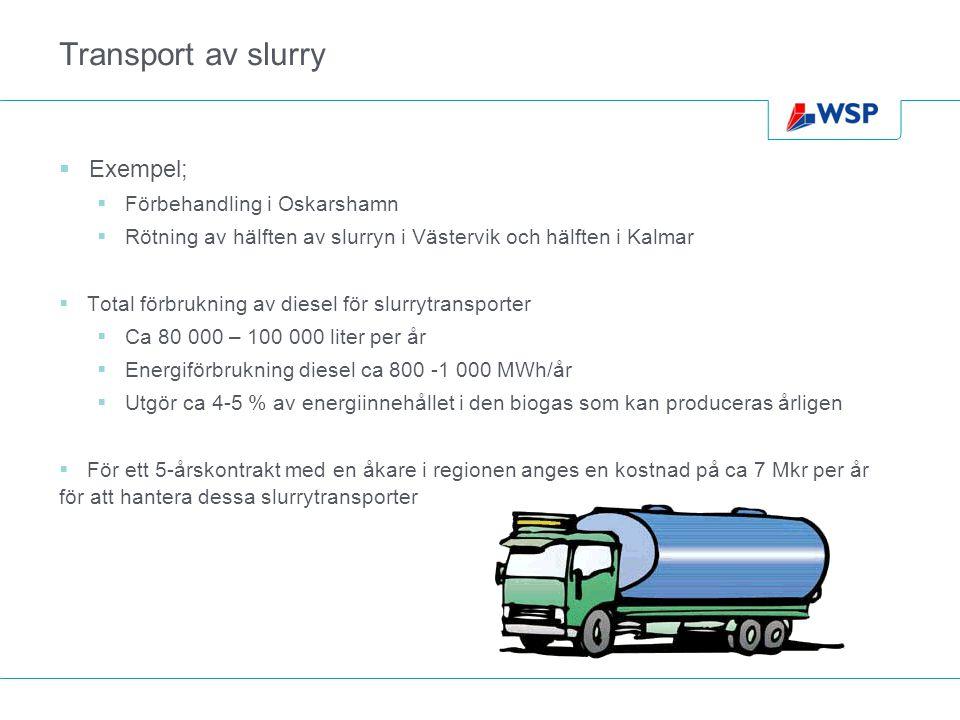 Transport av slurry Exempel; Förbehandling i Oskarshamn