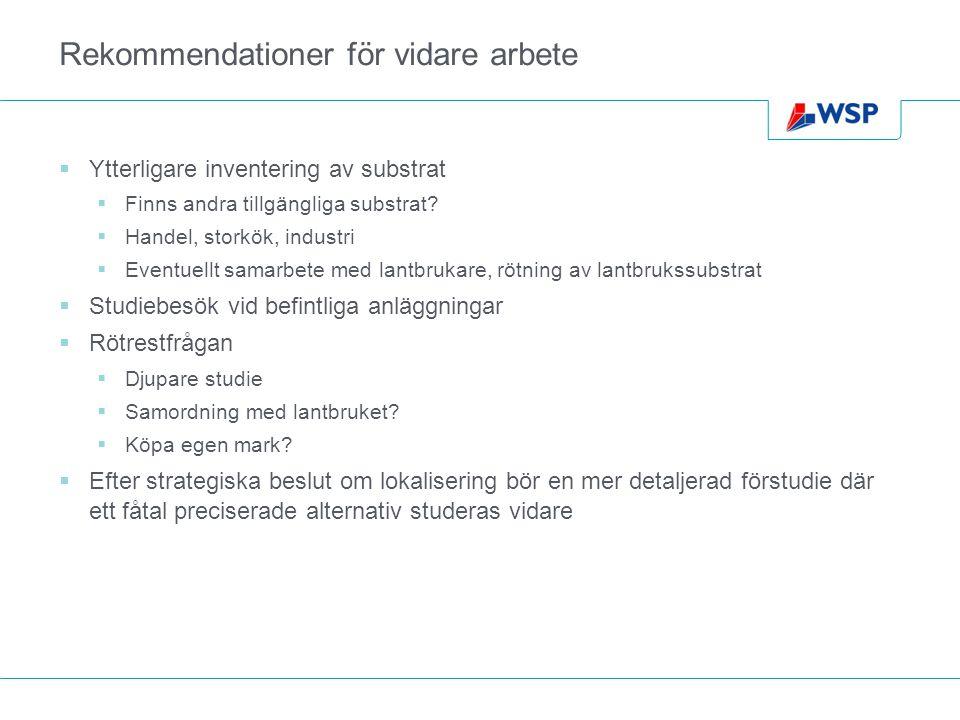 Rekommendationer för vidare arbete