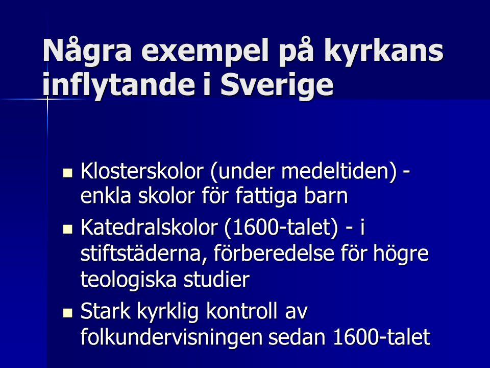 Några exempel på kyrkans inflytande i Sverige