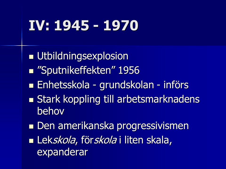 IV: 1945 - 1970 Utbildningsexplosion Sputnikeffekten 1956
