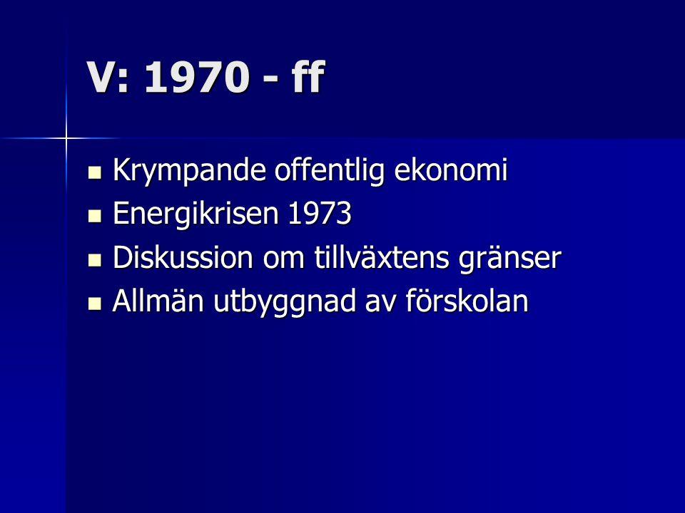 V: 1970 - ff Krympande offentlig ekonomi Energikrisen 1973