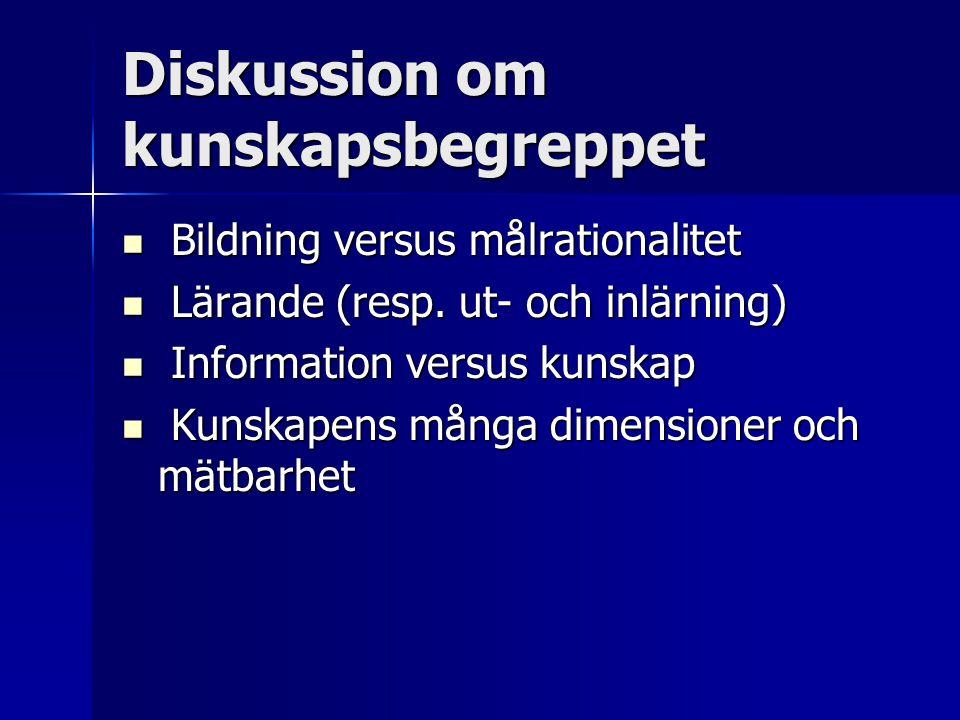 Diskussion om kunskapsbegreppet