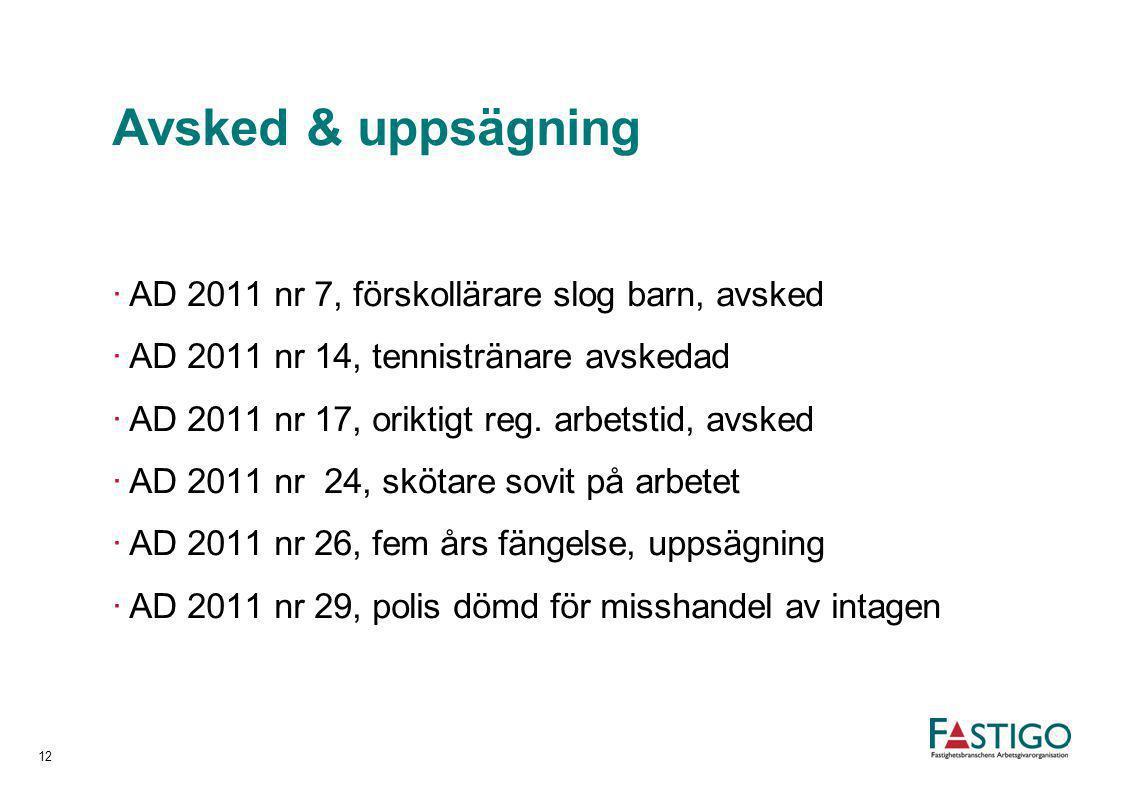 Avsked & uppsägning AD 2011 nr 7, förskollärare slog barn, avsked