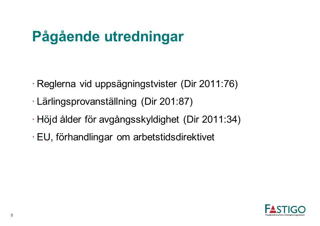 Pågående utredningar Reglerna vid uppsägningstvister (Dir 2011:76)