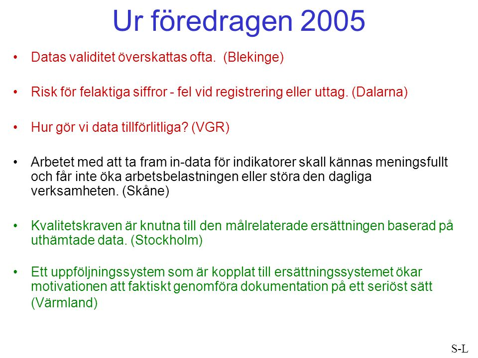 Ur föredragen 2005 Datas validitet överskattas ofta. (Blekinge)