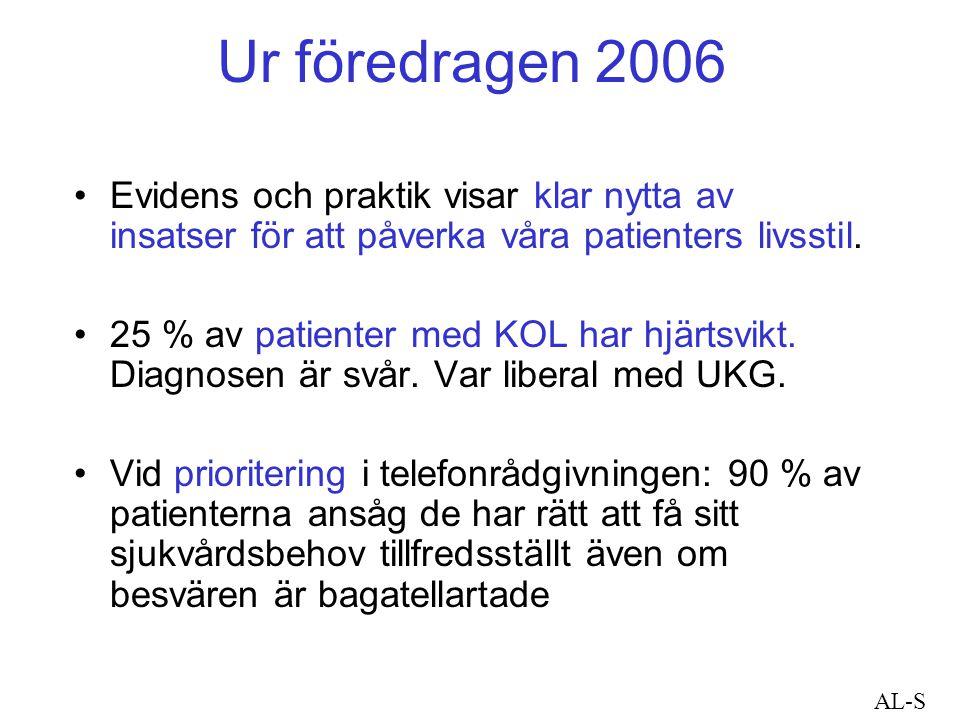 Ur föredragen 2006 Evidens och praktik visar klar nytta av insatser för att påverka våra patienters livsstil.
