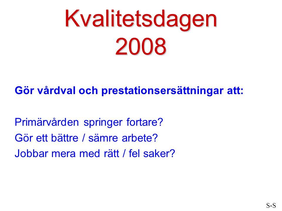 Kvalitetsdagen 2008 Gör vårdval och prestationsersättningar att: