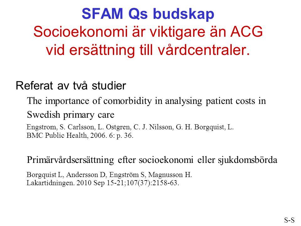 SFAM Qs budskap Socioekonomi är viktigare än ACG vid ersättning till vårdcentraler.