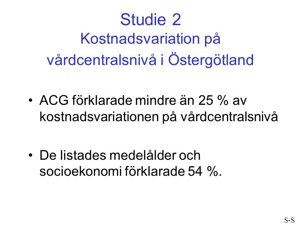 Studie 2 Kostnadsvariation på vårdcentralsnivå i Östergötland