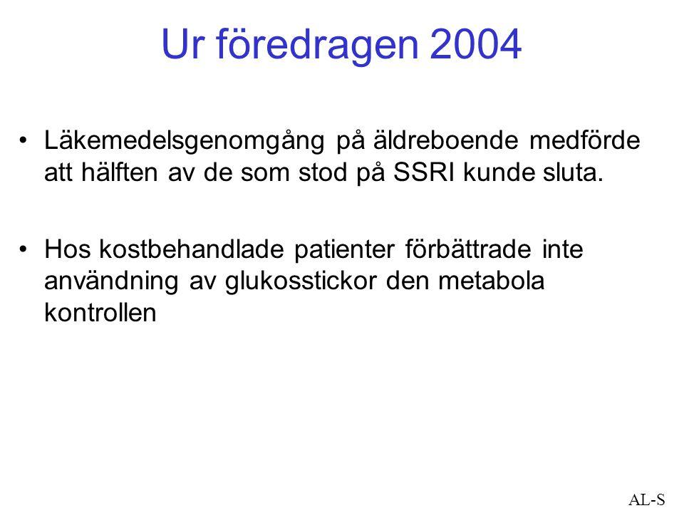 Ur föredragen 2004 Läkemedelsgenomgång på äldreboende medförde att hälften av de som stod på SSRI kunde sluta.
