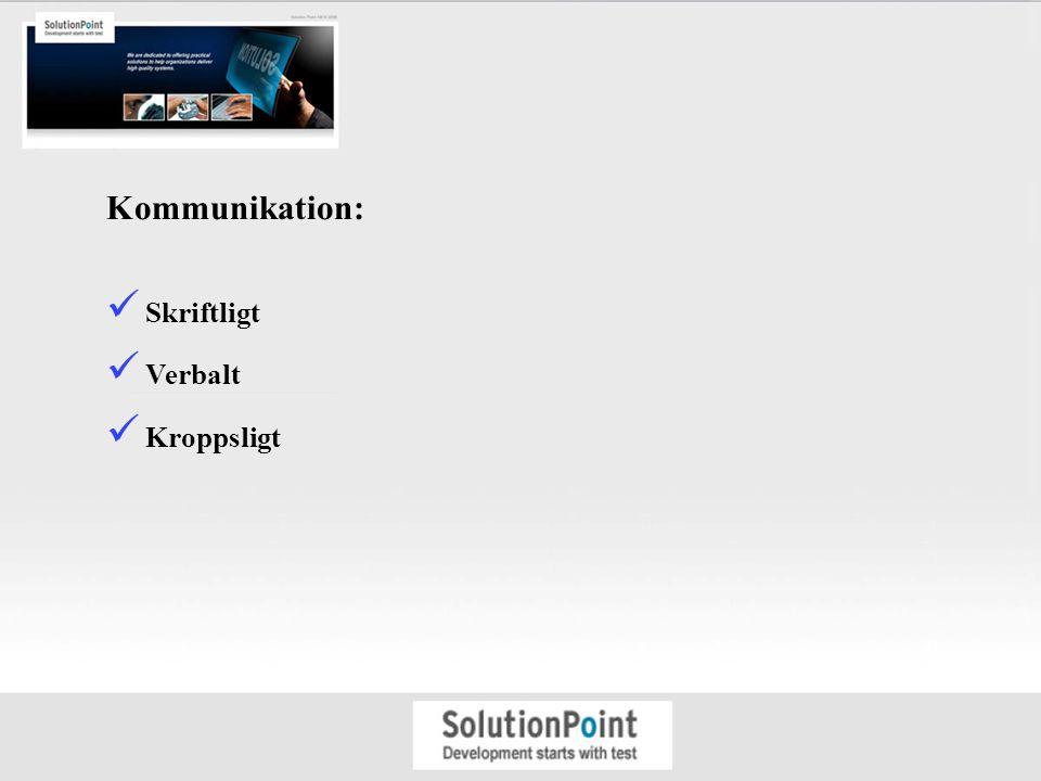 Kommunikation: Skriftligt Verbalt Kroppsligt