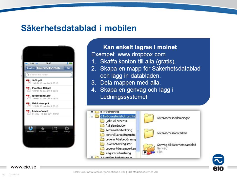 Säkerhetsdatablad i mobilen
