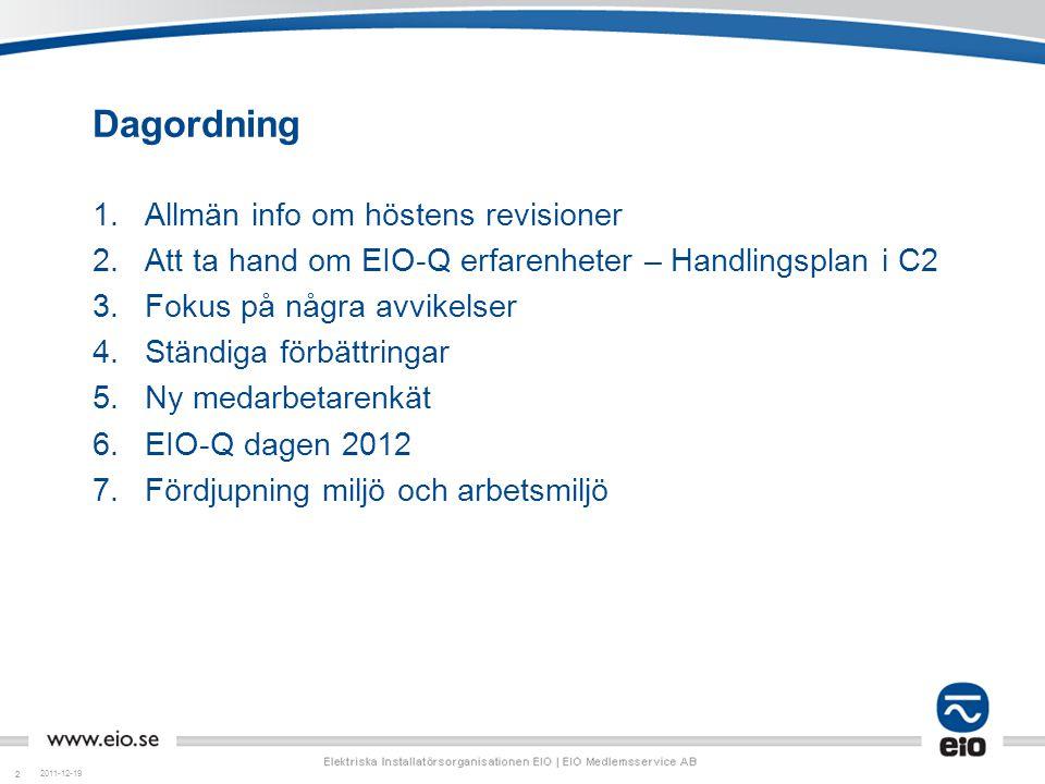 Dagordning Allmän info om höstens revisioner