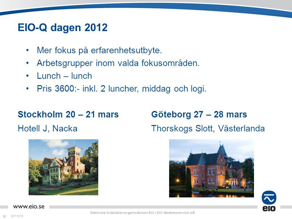 EIO-Q dagen 2012 Mer fokus på erfarenhetsutbyte.