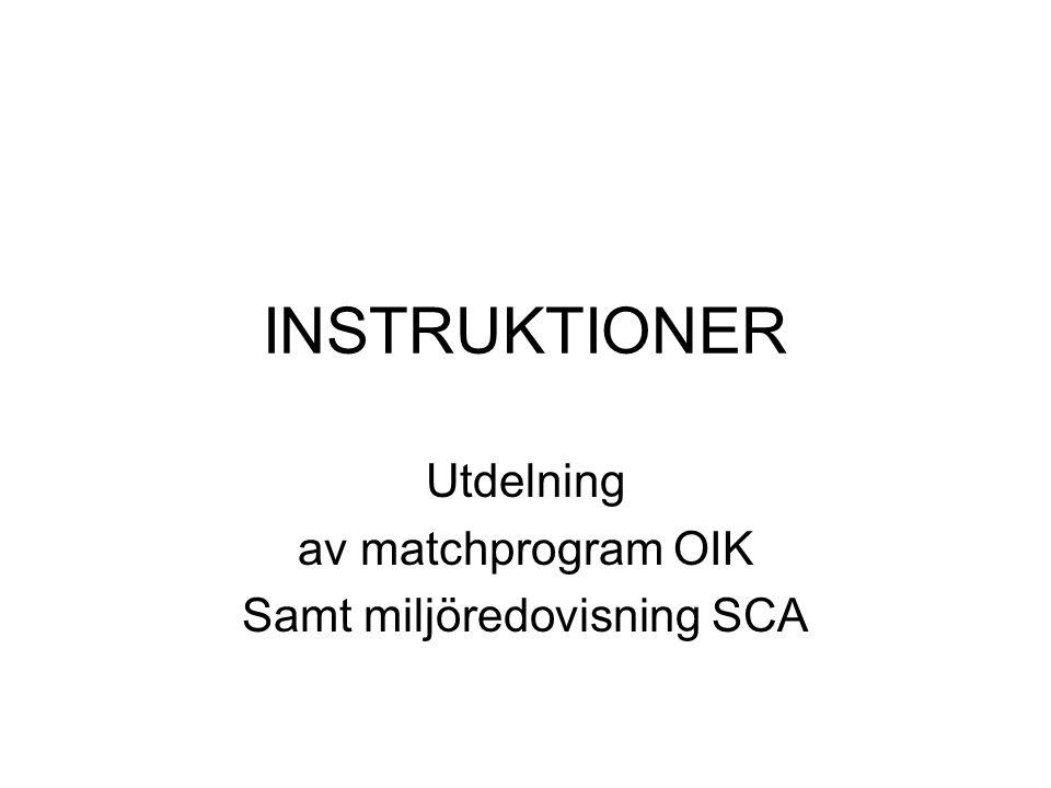 Utdelning av matchprogram OIK Samt miljöredovisning SCA