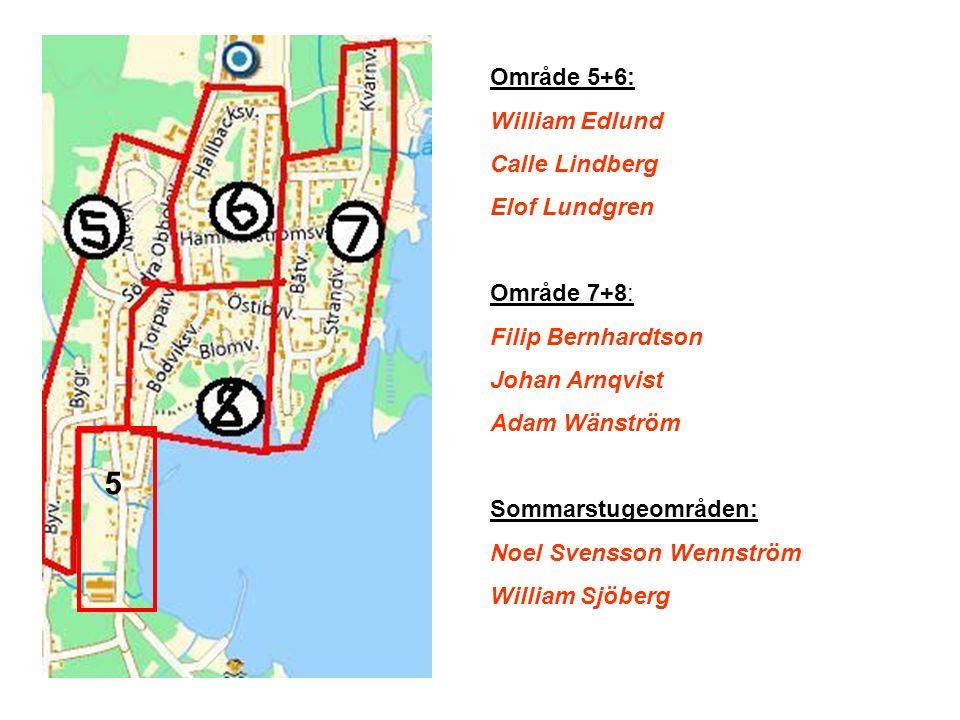 5 Område 5+6: William Edlund Calle Lindberg Elof Lundgren Område 7+8: