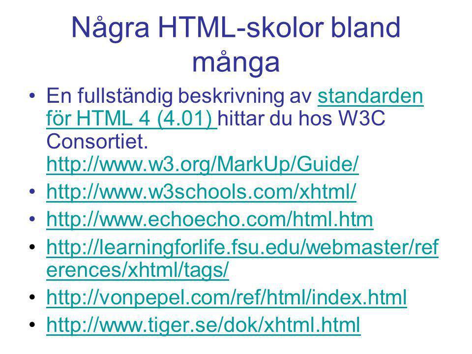 Några HTML-skolor bland många