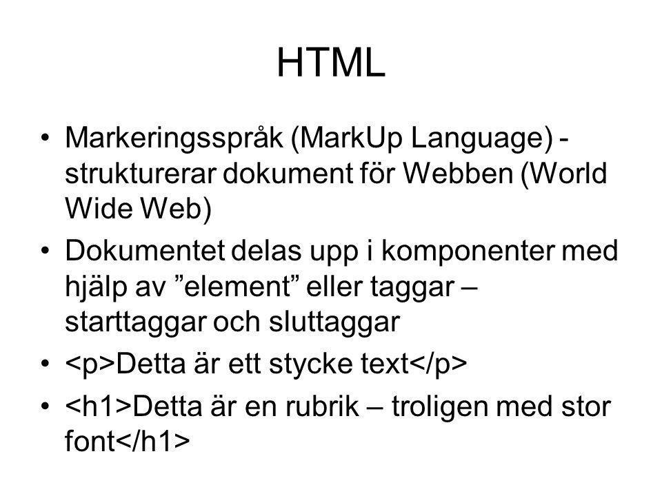 HTML Markeringsspråk (MarkUp Language) - strukturerar dokument för Webben (World Wide Web)