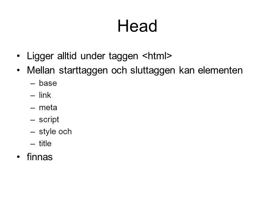 Head Ligger alltid under taggen <html>