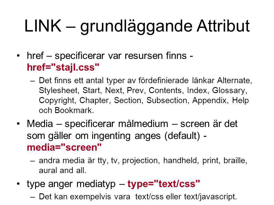 LINK – grundläggande Attribut