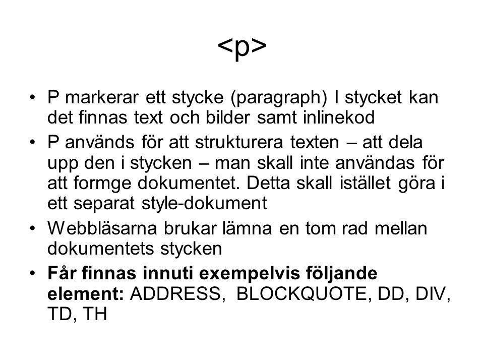 <p> P markerar ett stycke (paragraph) I stycket kan det finnas text och bilder samt inlinekod.