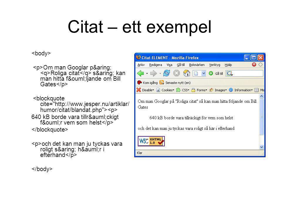 Citat – ett exempel <body>