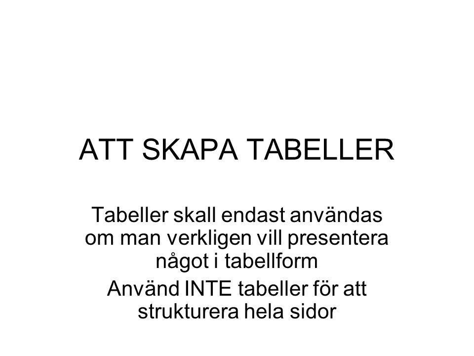 Använd INTE tabeller för att strukturera hela sidor