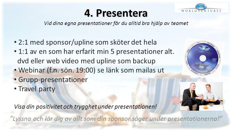 4. Presentera Vid dina egna presentationer får du alltid bra hjälp av teamet