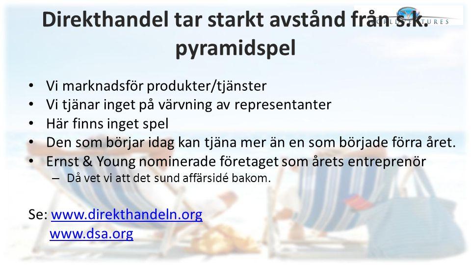 Direkthandel tar starkt avstånd från s.k. pyramidspel
