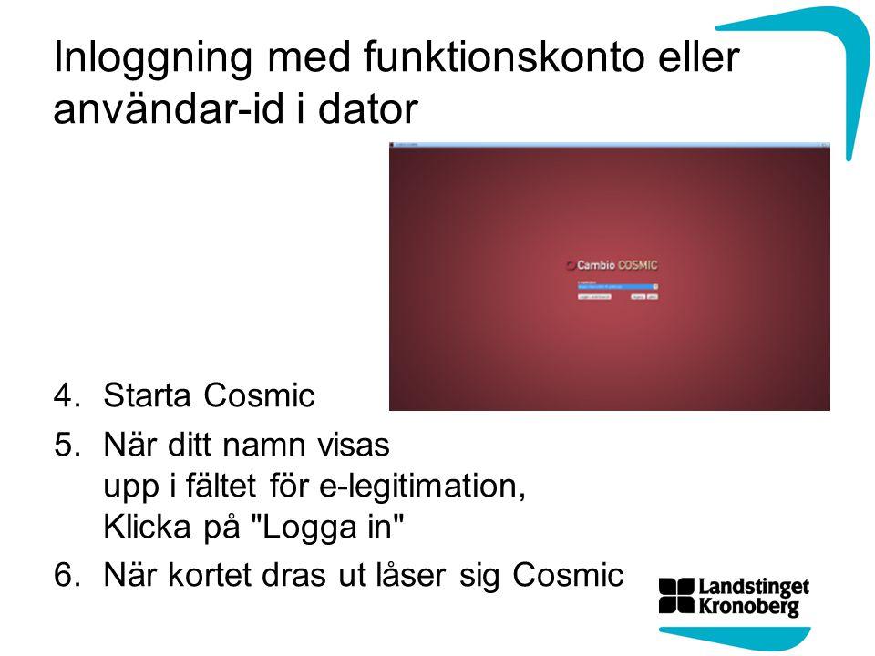 Inloggning med funktionskonto eller användar-id i dator
