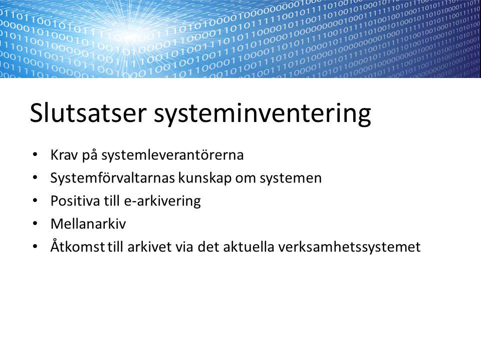 Slutsatser systeminventering