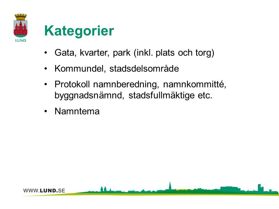 Kategorier Gata, kvarter, park (inkl. plats och torg)