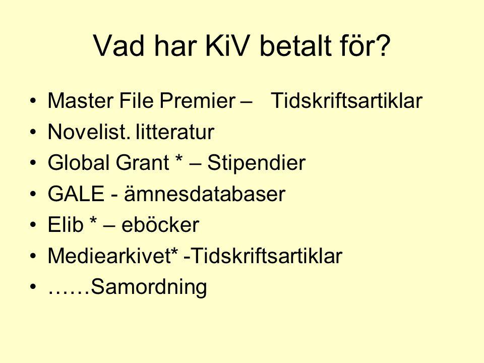 Vad har KiV betalt för Master File Premier – Tidskriftsartiklar