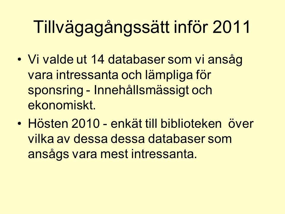 Tillvägagångssätt inför 2011