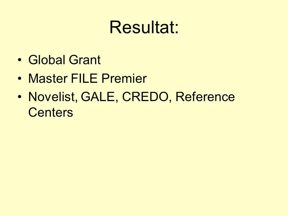 Resultat: Global Grant Master FILE Premier