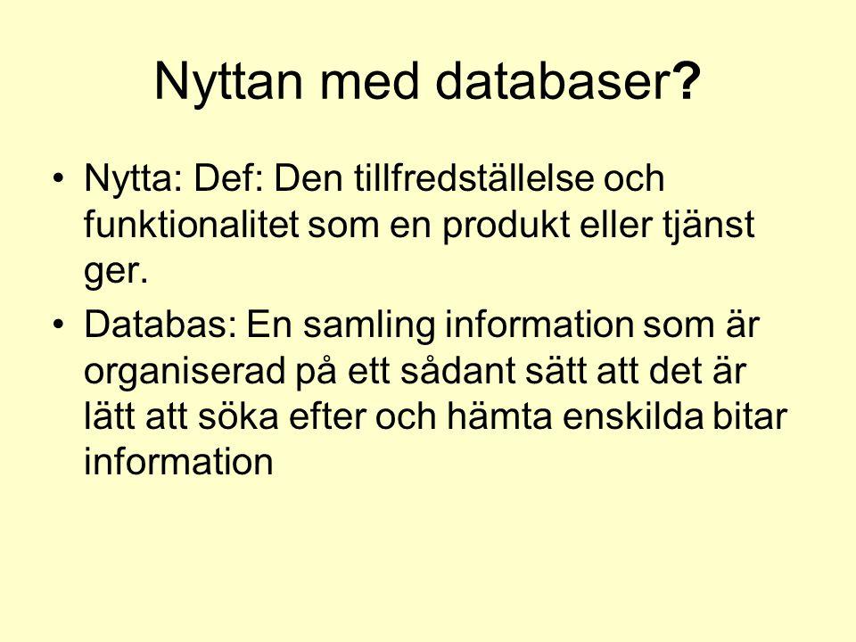Nyttan med databaser Nytta: Def: Den tillfredställelse och funktionalitet som en produkt eller tjänst ger.