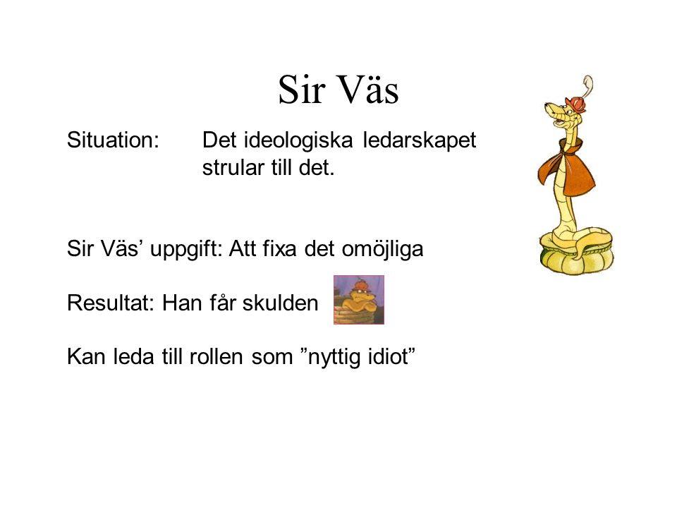 Sir Väs Situation: Det ideologiska ledarskapet strular till det.