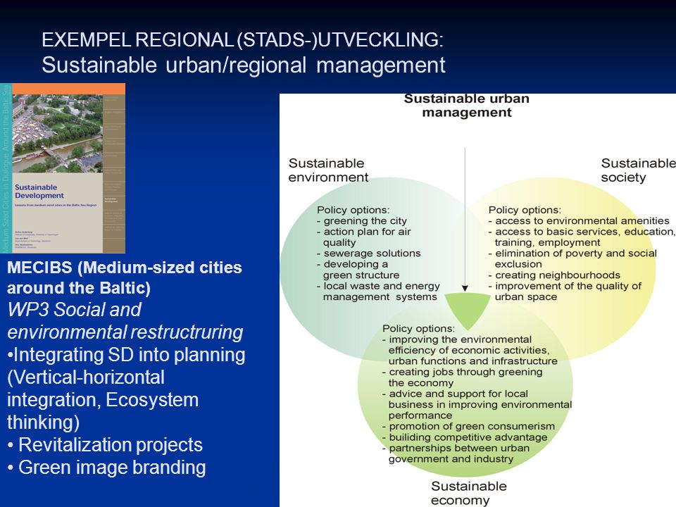 Sustainable urban/regional management