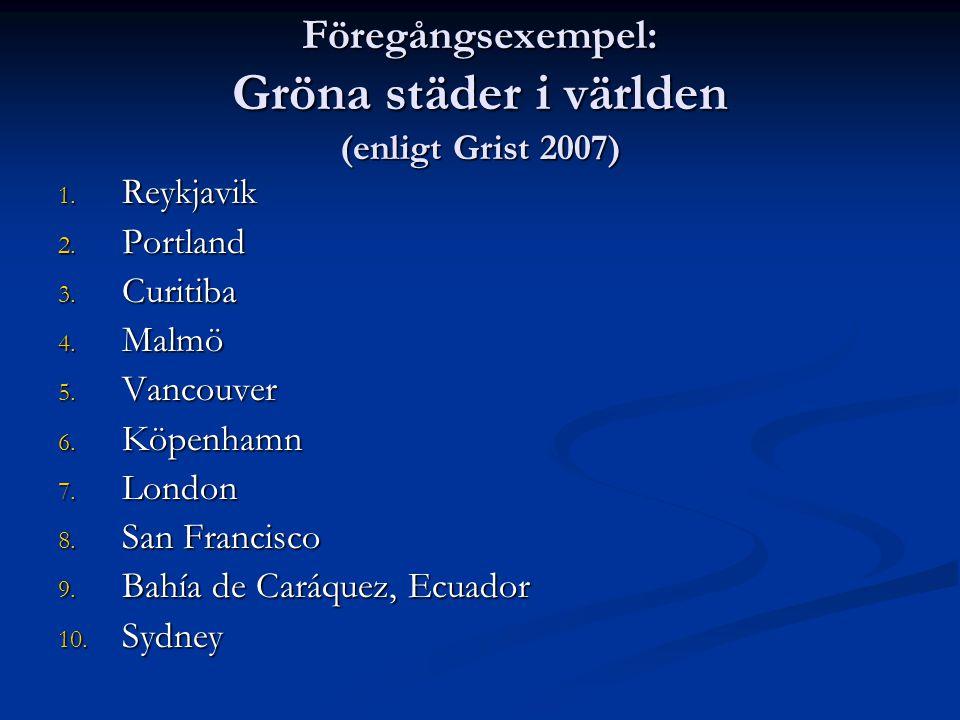 Föregångsexempel: Gröna städer i världen (enligt Grist 2007)