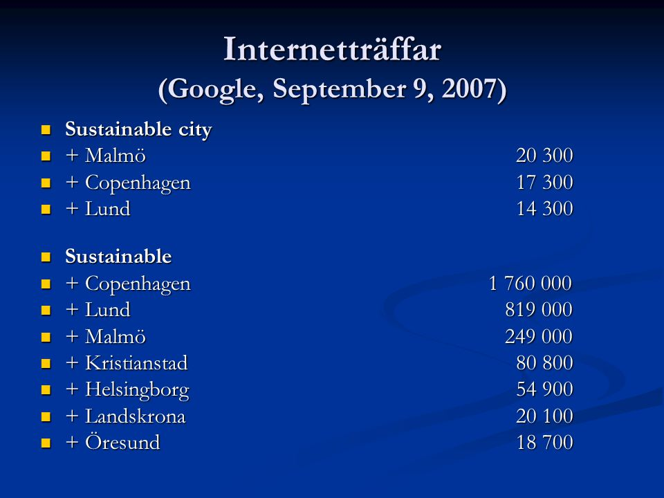 Internetträffar (Google, September 9, 2007)