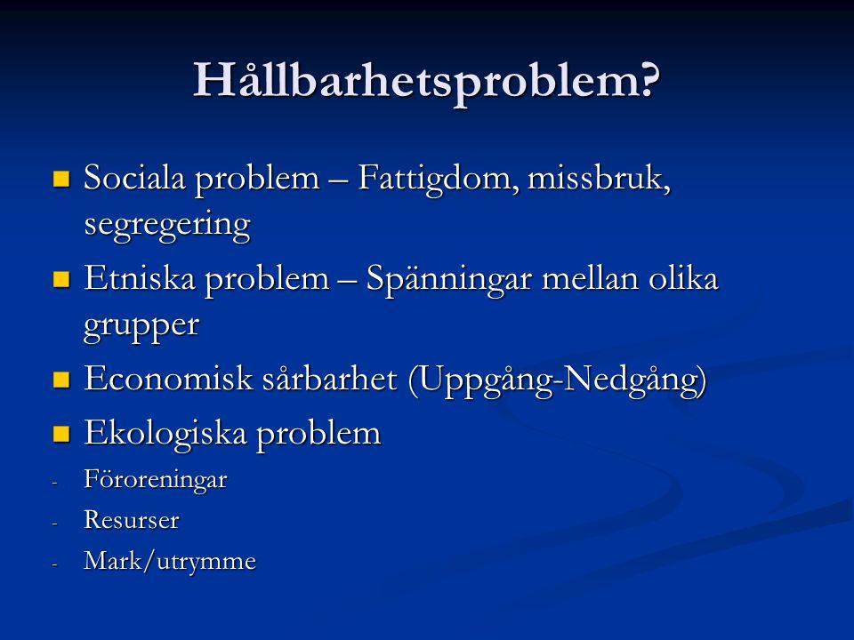 Hållbarhetsproblem Sociala problem – Fattigdom, missbruk, segregering