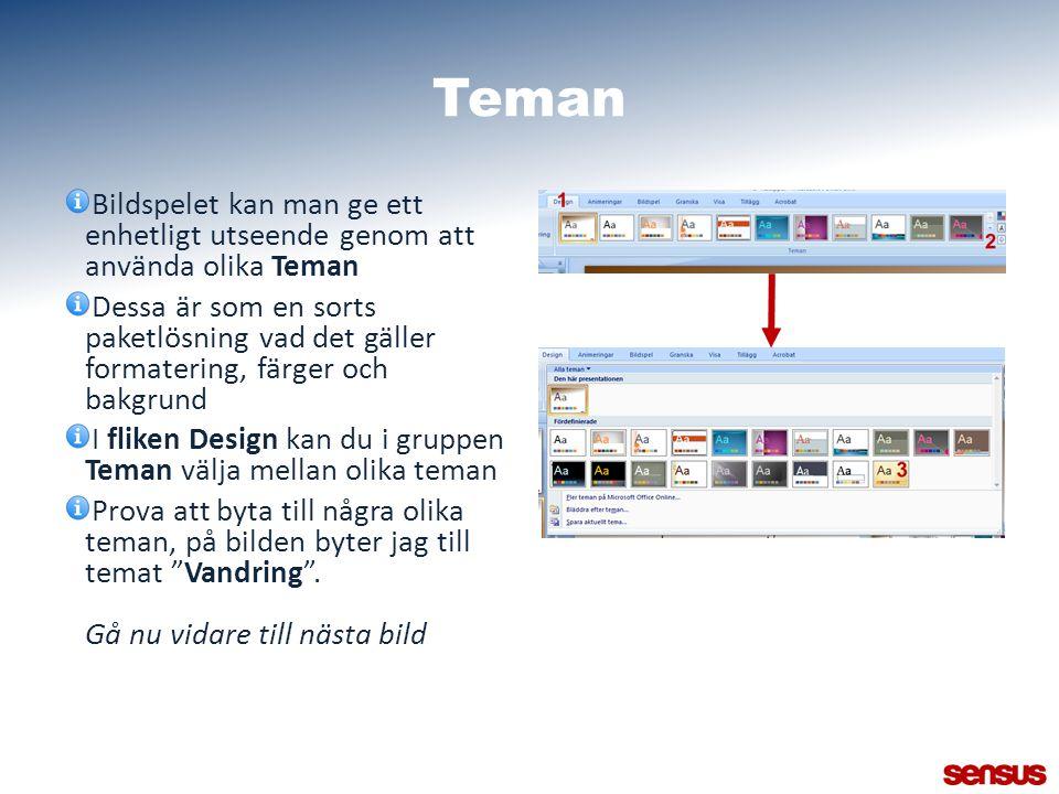 Teman Bildspelet kan man ge ett enhetligt utseende genom att använda olika Teman.