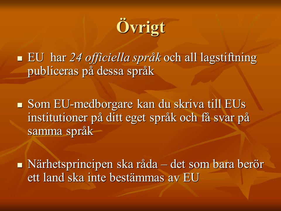 Övrigt EU har 24 officiella språk och all lagstiftning publiceras på dessa språk.