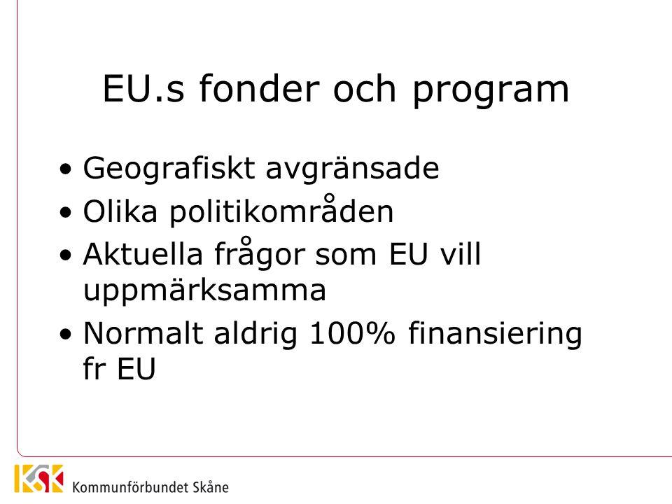 EU.s fonder och program Geografiskt avgränsade Olika politikområden