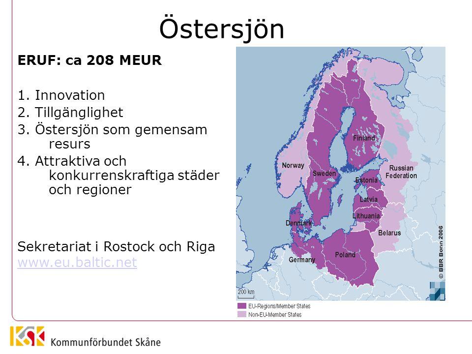 Östersjön ERUF: ca 208 MEUR 1. Innovation 2. Tillgänglighet