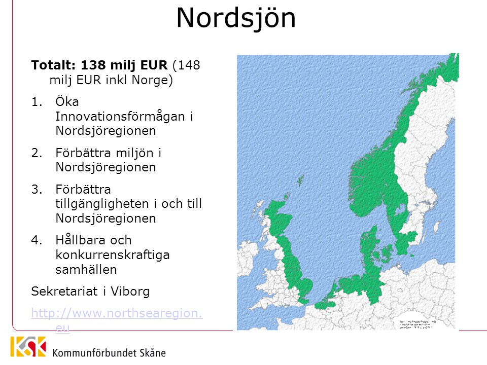 Nordsjön Totalt: 138 milj EUR (148 milj EUR inkl Norge)