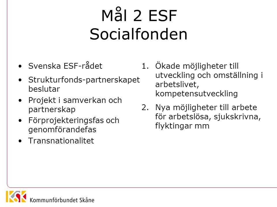 Mål 2 ESF Socialfonden Svenska ESF-rådet